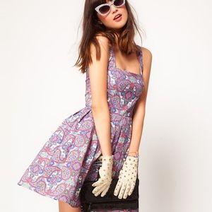 ASOS 50's Paisley Floral Flare Skater Dress Sz 4